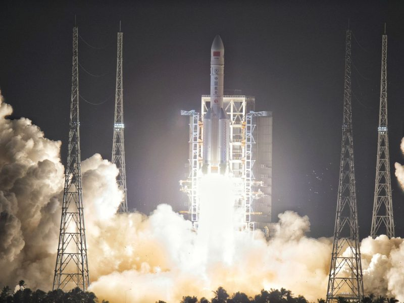 China's test fires a Long March 5 carrier rocket earlier this year. Soon it will launch its first reusable rocket. Photo: AFP