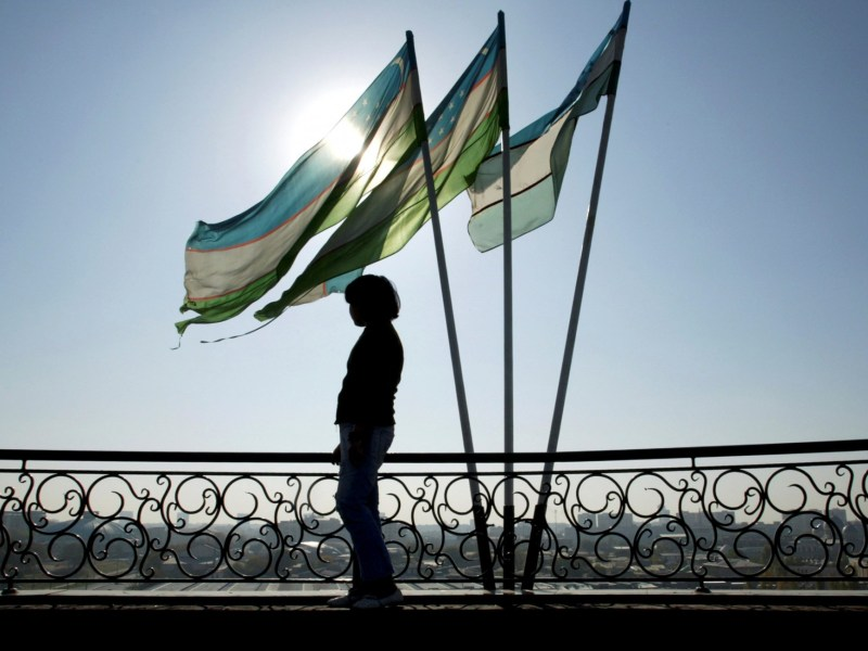 A girl is silhouetted against the sun standing next to Uzbek flags in Tashkent November 5, 2005. Photo: Reuters/Shamil Zhumatov