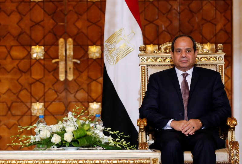 Egypt's President Abdel Fattah al-Sisi attends during signing of agreements ceremony with Sudanese President Omar Hassan al-Bashir (unseen) at the El-Thadiya presidential palace in Cairo, Egypt October 5, 2016. Picture taken October 5, 2016. REUTERS/Amr Abdallah Dalsh