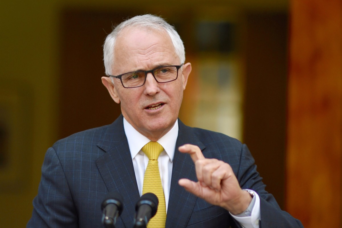 Australian Prime Minister Malcolm Turnbull reacts as he answers questions during a media conference in Parliament House, Canberra, Australia, November 22, 2016. Photo: AAP/Lukas Coch/via Reuters