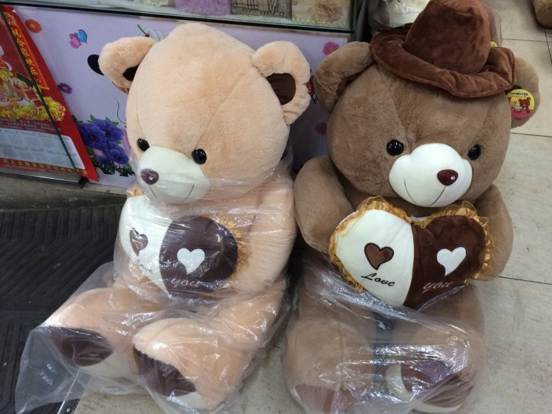 Bear toys are seen at a wholesale market in Dandong, China's border town with North Korea. Photo: Reuters/Sue-Lin Wong