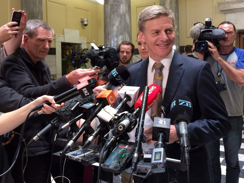 New Zealand Finance Minister and Deputy Prime Minister Bill English announce that he is considering running for the leadership of the ruling National Party. Photo: Reuters/Charlotte Greenfield