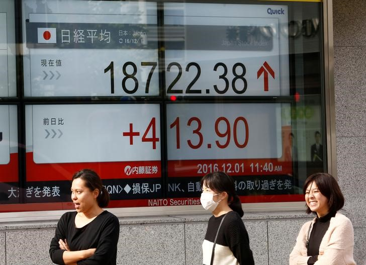 Japan's Nikkei average outside a brokerage in Tokyo, Japan, December 1, 2016. Reuters/Kim Kyung-Hoon
