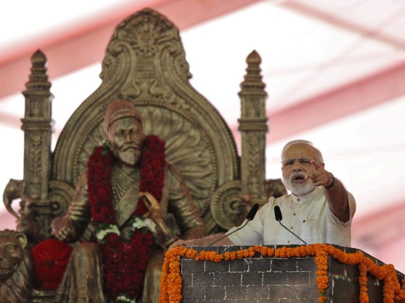 India's Prime Minister Narendra Modi speaks after laying the foundation for the memorial of Chhatrapati Shivaji Maharaj, in Mumbai, India, December 24, 2016. Photo: Reuters/Shailesh Andrade