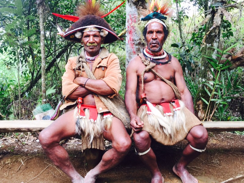 Huli Wigman Chief Kubumu (left) and wig specialist Nabeta from Poroiba Akau village near Tari. Photo: Julie L. Kessler