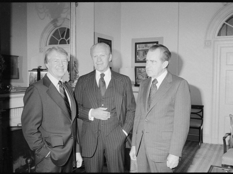 Jimmy Carter, Gerald Ford and Richard Nixon gather at the White House. Photo: Wikipedia Commons