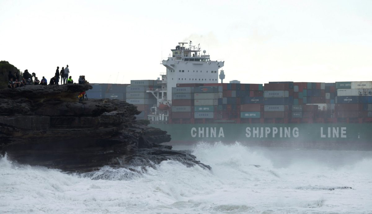 A China Shipping Line container ship sails out from Sydney's Botany Bay. Photo: Reuters