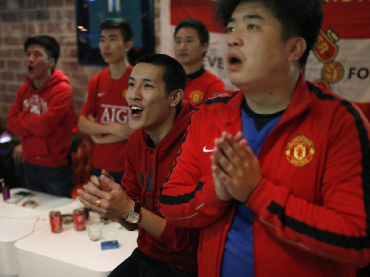Fans of Manchester United in Shanghai. Photo: Reuters