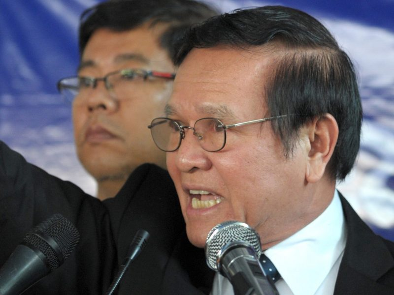 Kem Sokha (right) is now the leader of the leader of the Cambodia National Rescue Party. Photo: AFP / Tang Chhin Sothy