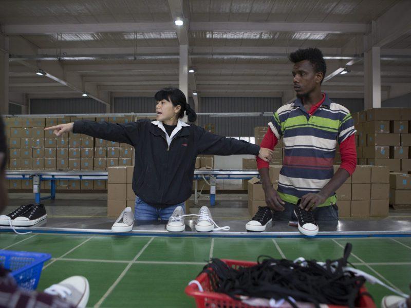 Inside the Huajian shoe factory on the outskirts of Addis Ababa. Photo: AFP Zacharias Abubeker