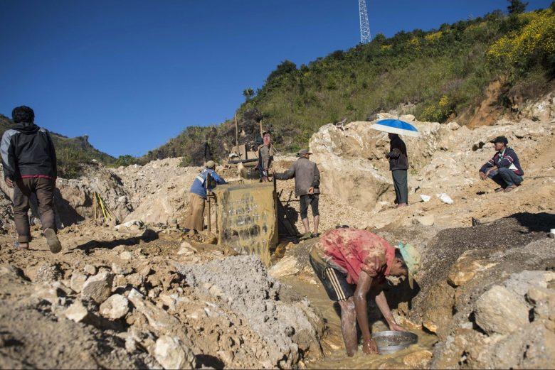 Miners working in a ruby mine in Mogok, north of Mandalay. Photo: Ye Aung Thu//AFP