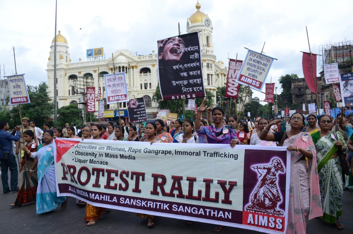 Activists of All India Mahila Sanskritik Sangathan at a protest rally against atrocities on women, gang rape, immoral trafficking and obscenity. Photo: AFP/Sonali Pal Chaudhury/NurPhoto