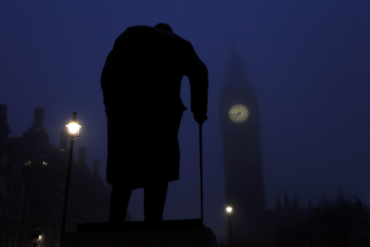What would he have thought? Winston Churchill on a foggy morning in central London. December 30, 2016. Reuters/Stefan Wermuth