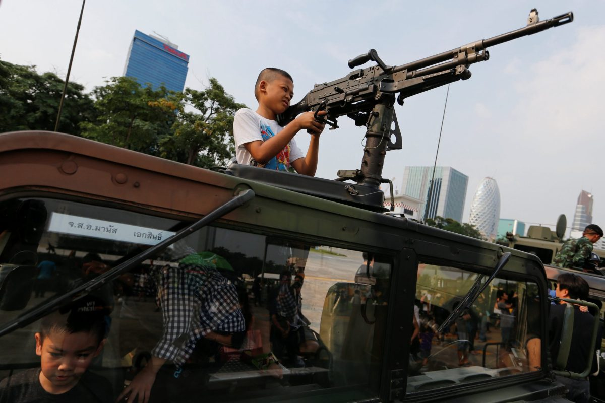 Boy's toys: Thailand's army opened up the the grownups' toy box for Children's Day. Photo: Reuters