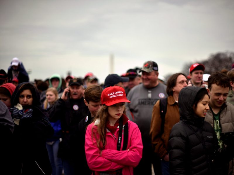 The crowd on the National Mall reacts during the inauguration of US President Donald Trump in Washington, January 20, 2017. Photo: Reuters/James Lawler Duggan