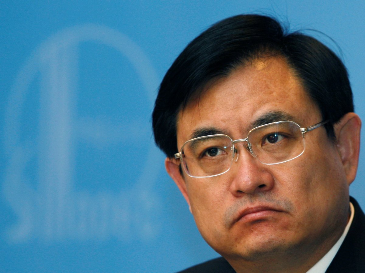 FILE PHOTO - Sinopec Director and President Wang Tianpu attends a news conference announcing the annual results in Hong Kong April 7, 2008.   REUTERS/Bobby Yip/File Photo