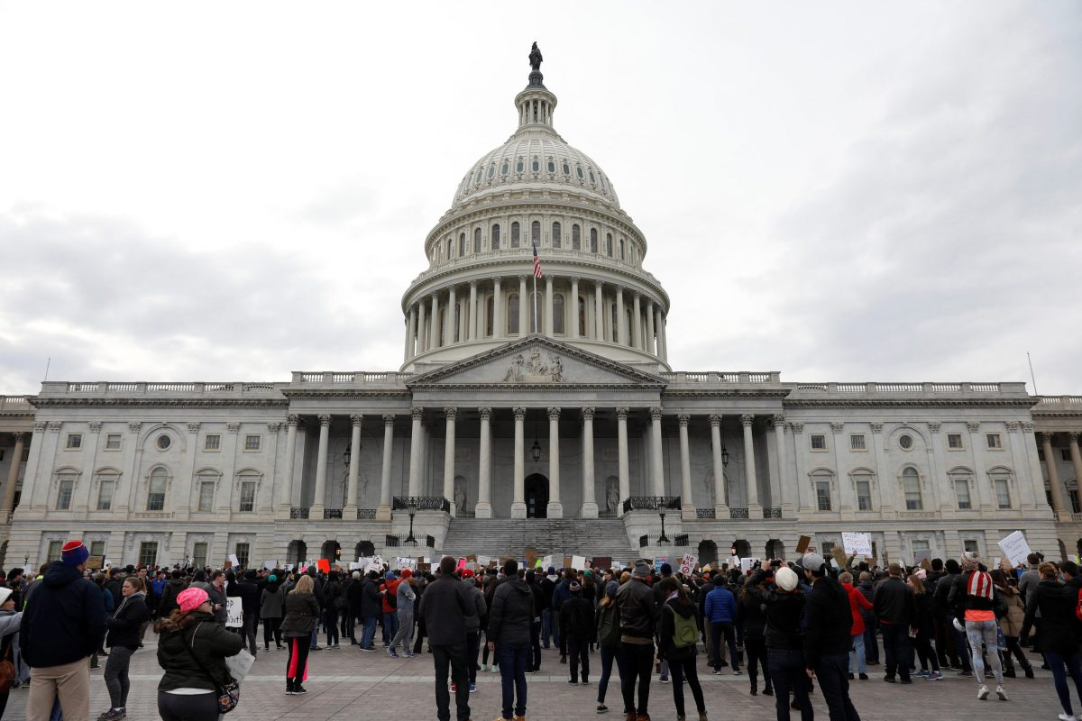 Activists gather at the US Capitol to protest President Donald Trump's executive actions on immigration in Washington January 29, 2017.  REUTERS/Aaron P. Bernstein