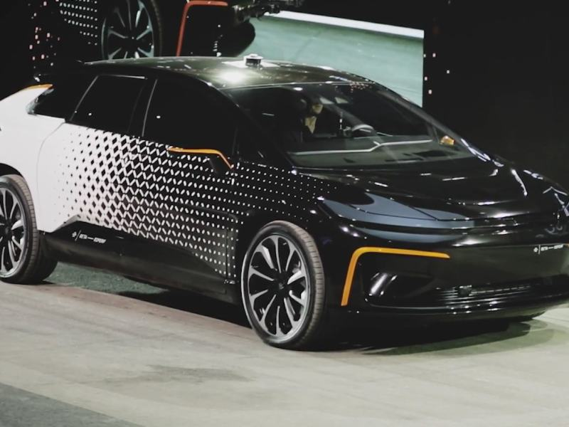 Farady Future unveils its first production car – the FF91 – in Las Vegas.  Photo: Farady Future video