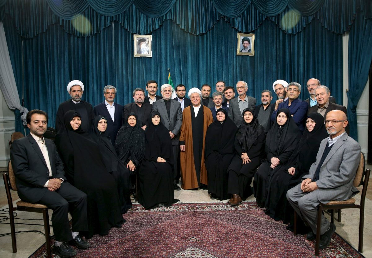 Iran's former president Ali Akbar Hashemi Rafsanjani (center) poses with former vice president Mohammad Reza Aref (center left) and a group of reformists in February 2016. Photo: Reuters/Mohammad Kazempour/TIMA