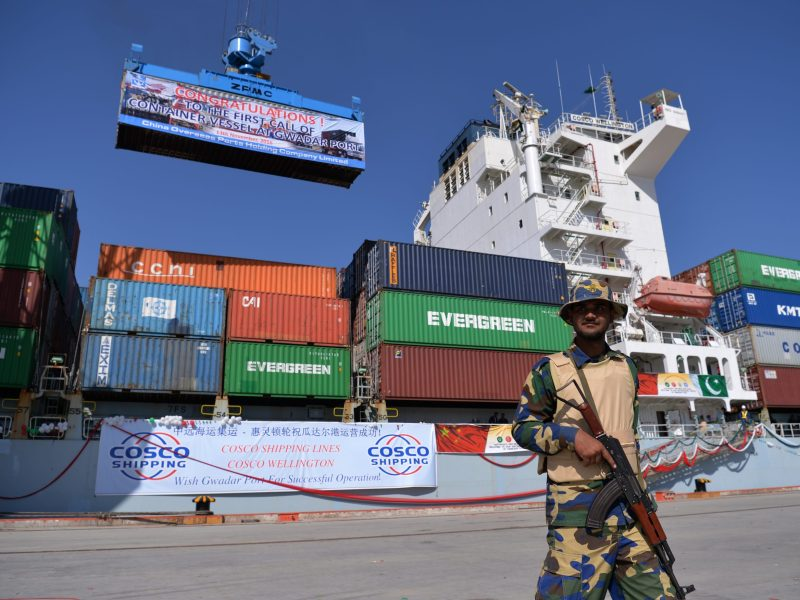 File photo of a Pakistani Naval guard warding off troublemakers at Gwadar port. Photo: AFP/Aamir Qureshi