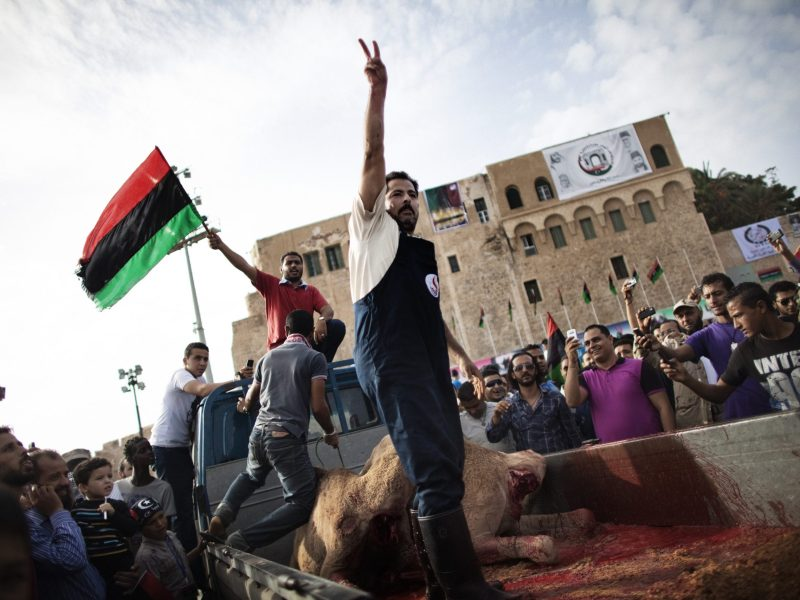 When hopes were high: Libyan men ritually slaughter two camels to celebrate the liberation of the country in Martyr's Square, Tripoli, on October 23, 2011. Photo: AFP