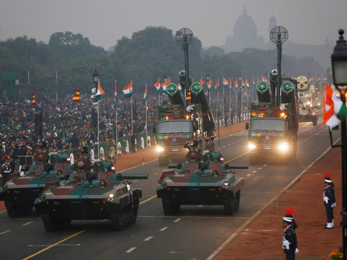 Indian Army infantry combat vehicles are displayed during the Republic Day parade in New Delhi on January 26, 2017. Photo: Reuters / Adnan Abidi