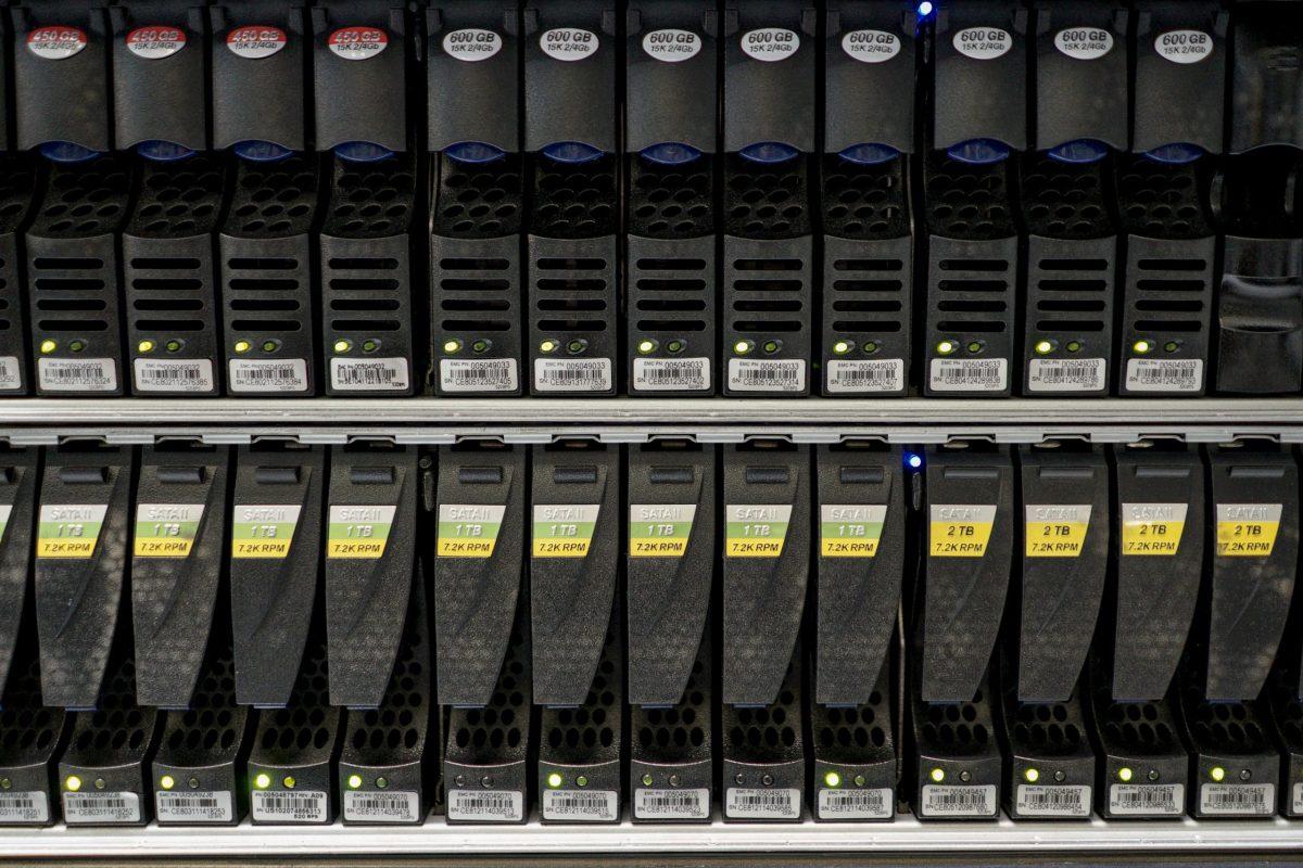 Hard disks inside a server room at a company in Bangkok. Photo: Reuters/Athit Perawongmetha