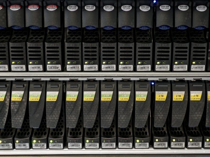Hard disks inside a server room at a company in Bangkok. Photo: Reuters/Athit Perawongmetha