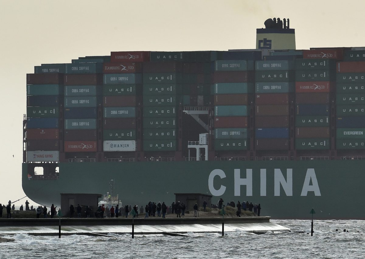 The largest container ship in the world, CSCL Globe, docks at the port of Felixstowe in south east England. Photo:  Reuters/Toby Melville/File Photo