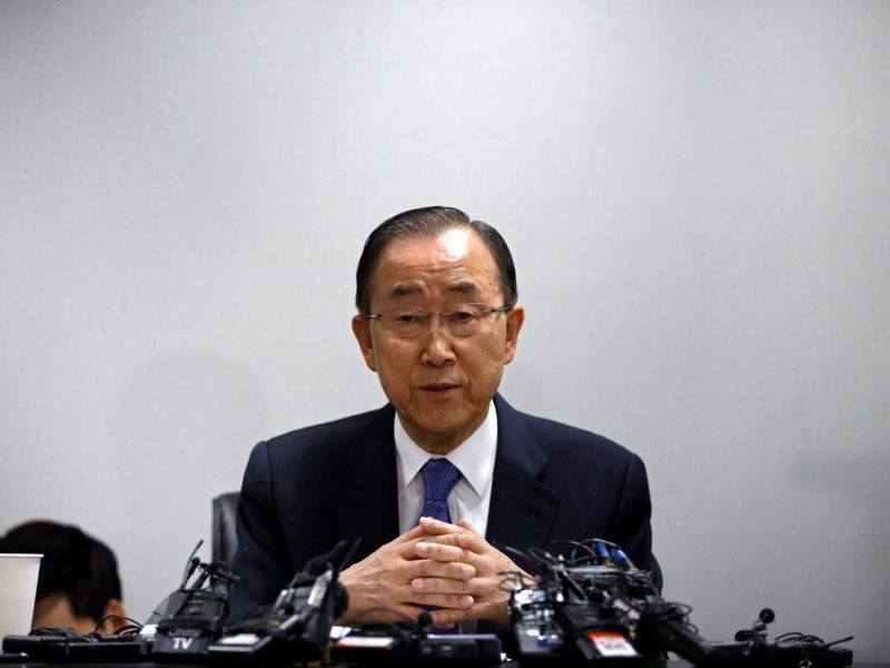 Done before he had a chance. Former UN Secretary-General Ban Ki-moon. Photo: Reuters/Kim Hong-ji