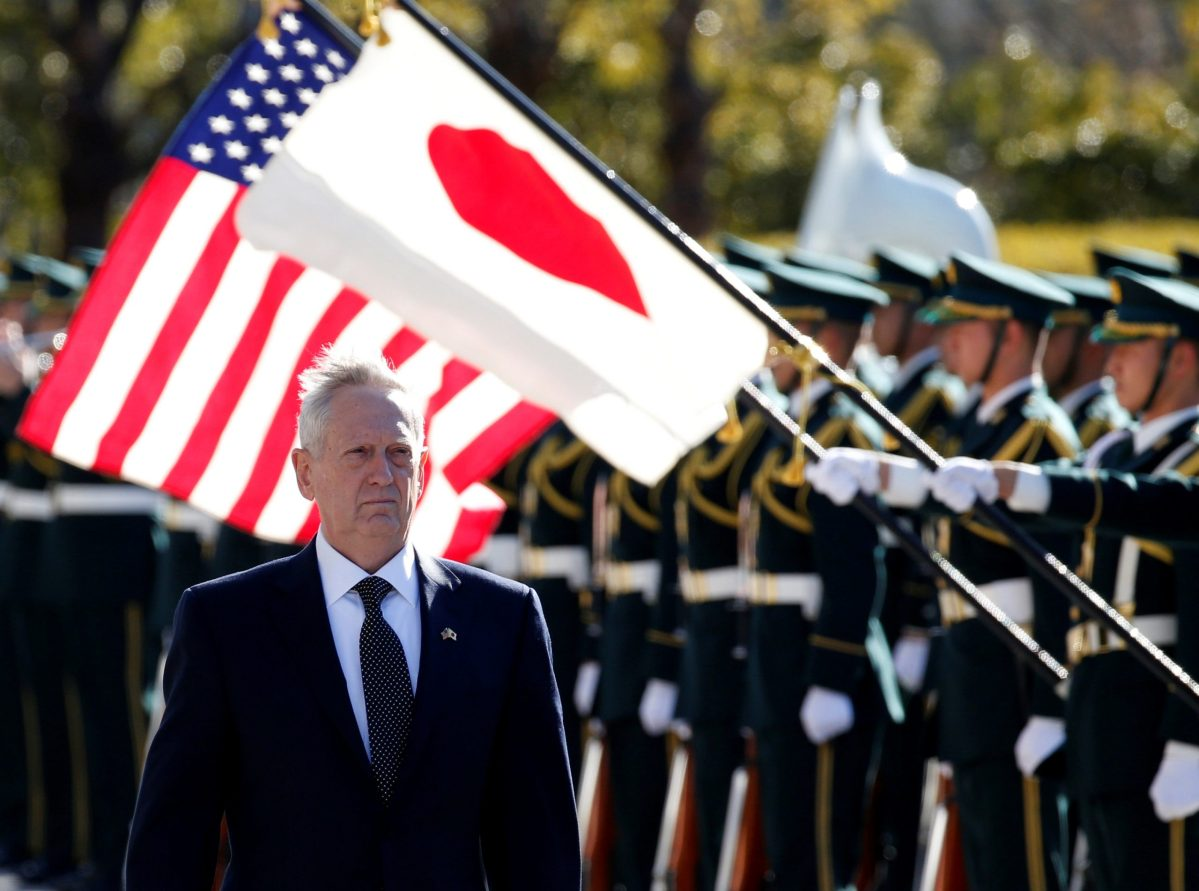 US Defense Secretary Jim Mattis reviews the honour guard before a meeting with Japan's Defense Minister Tomomi Inada in Tokyo. Photo: Reuters/Toru Hanai