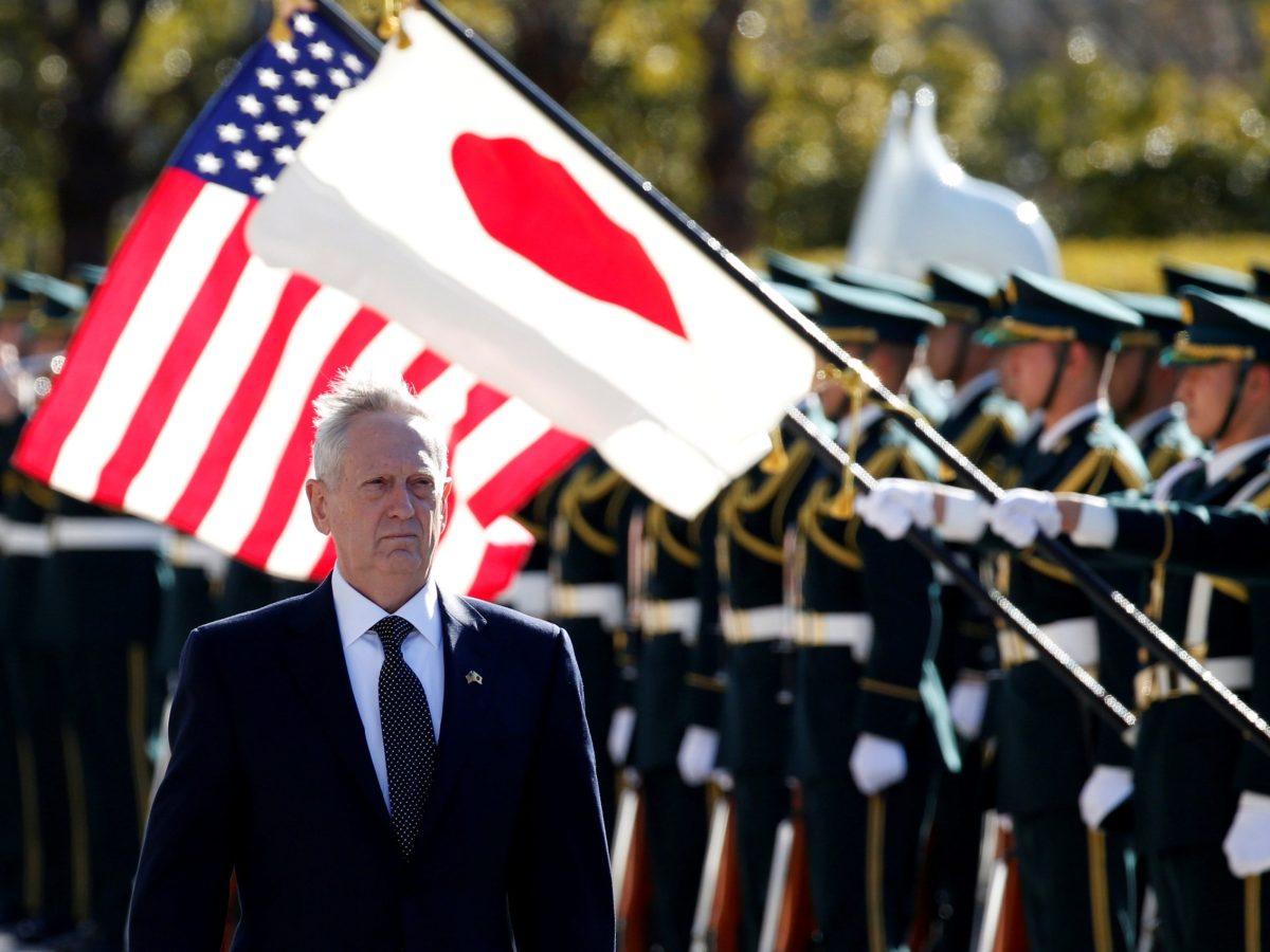 US Defense Secretary Jim Mattis reviews the honour guard before a meeting with Japan's Defense Minister Tomomi Inada in Tokyo. Photo: Reuters/Toru Hanai