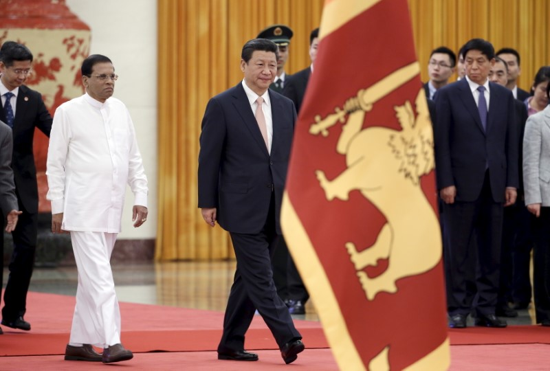 Sri Lanka's President Maithripala Sirisena and China's President Xi Jinping at the Great Hall of the People. Photo:  Reuters/Jason Lee