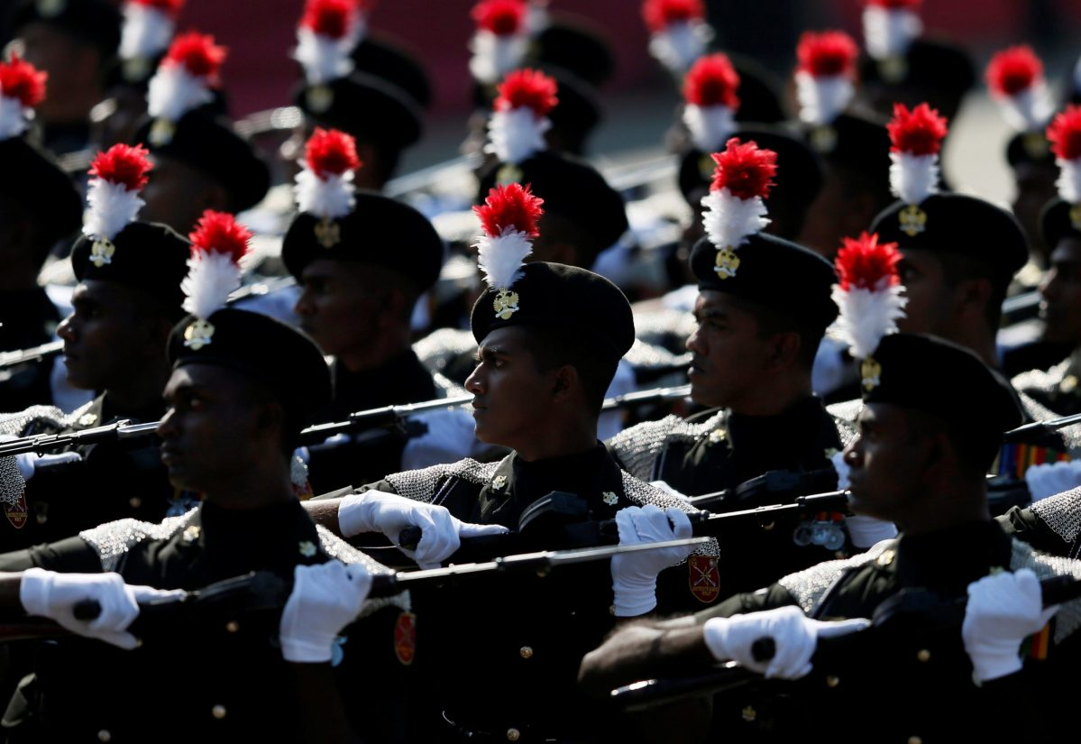 Soldiers march during Sri Lanka's 69th Independence day celebrations in Colombo, Sri Lanka February 4, 2017. Photo: Reuters/Dinuka Liyanawatte