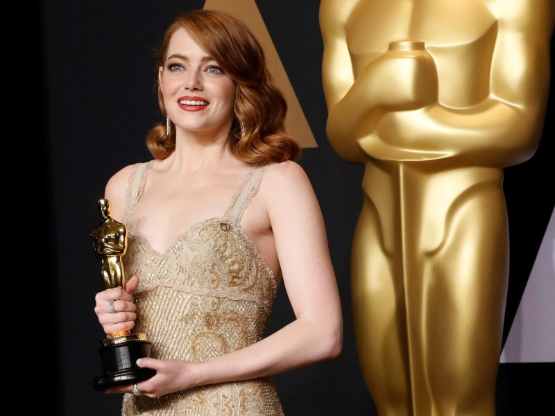 Emma Stone with the Oscar for best actress for her role in La La Land. Photo: Reuters/Lucas Jackson     TPX IMAGES OF THE DAY