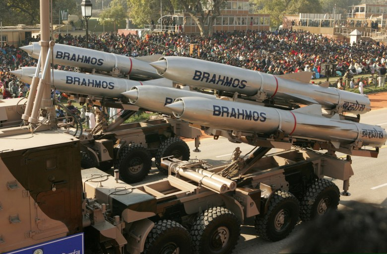 India's BrahMos supersonic cruise missiles are paraded through New Delhi. Photo: Kamal Kishore, Reuters