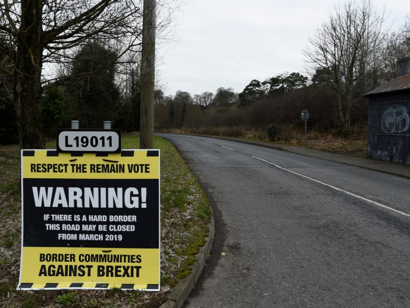 A warning against Brexit is seen on the border between Donegal in the Republic of Ireland and Londonderry in Northern Ireland. But Brexit could have important effects on Britain's relations with other countries, notably China. Photo: Clodagh Kilcoyne, Reuters