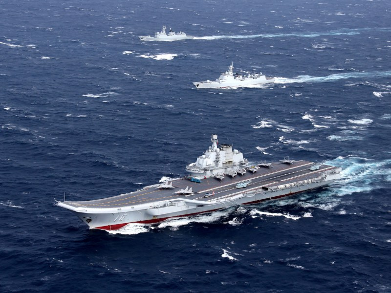 China's Liaoning aircraft carrier seen conducting a previous drill in the South China Sea. Photo: Reuters