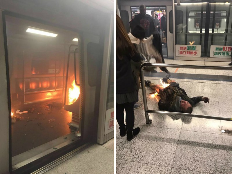The suspected attacker (on floor in right picture) has himself seriously burnt. Photo: Facebook