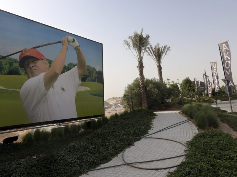 A billboard at the Trump International Golf Club Dubai. Photo: AFP / Karim Sahib