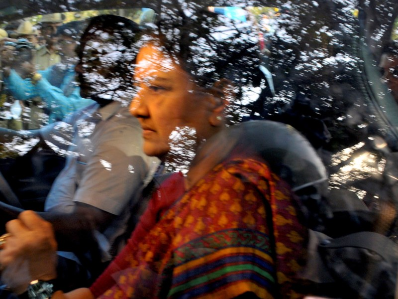 VK Sasikala arrives at the central jail in Bangalore to surrender herself after being convicted of corruption. Photo: Abhishek N Chinnappa, Reuters