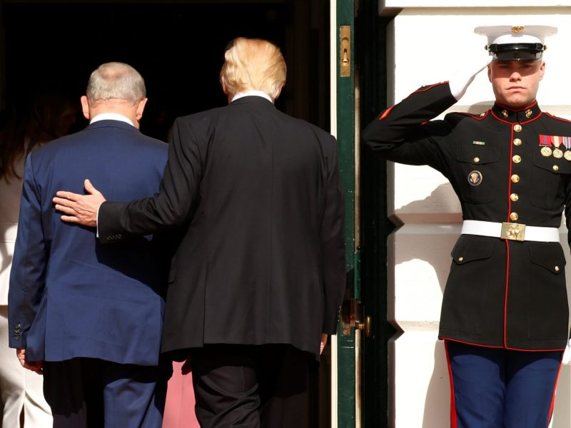 US President Donald Trump escorts Benjamin Netanyahu into the White House during a visit by the Israeli Prime Minister to Washington in February 2017. Photo: Reuters
