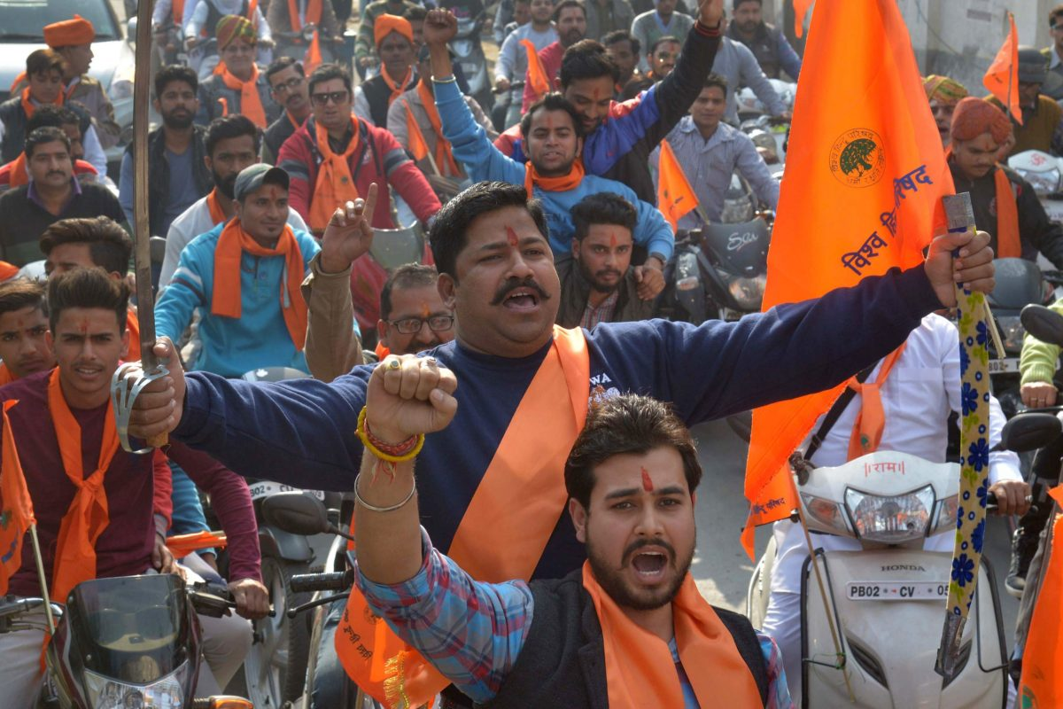 Hindu activists mark the 24th anniversary of the demolition of the Babri Mosque in Ayodhya, on December 6, 2016. Photo: AFP / Narinder Nanu