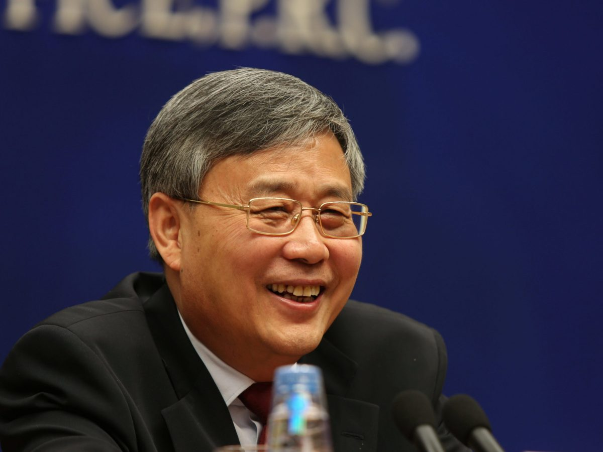 Guo Shuqing, China's newly appointed banking regulator, attends a news conference ahead of China's parliament in Beijing, March 2, 2017. Photo: Reuters/Shu Zhang