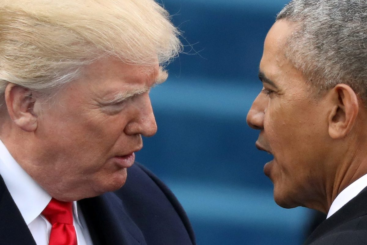 Head-to head: Donald Trump and Barack Obama. Photo: Reuters / Carlos Barria