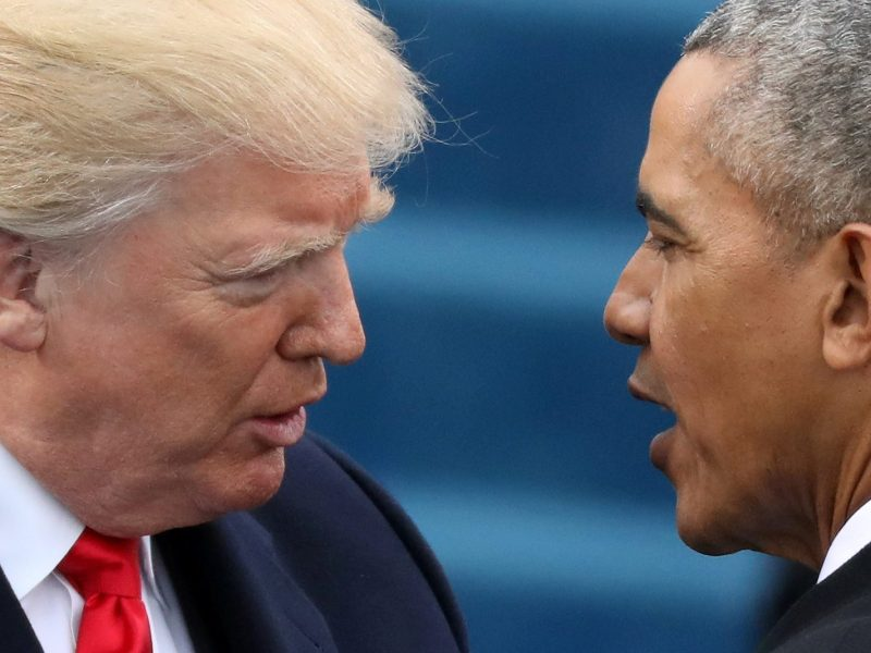 Head-to head: Donald Trump and Barack Obama. Photo: Reuters / Carlos Barria