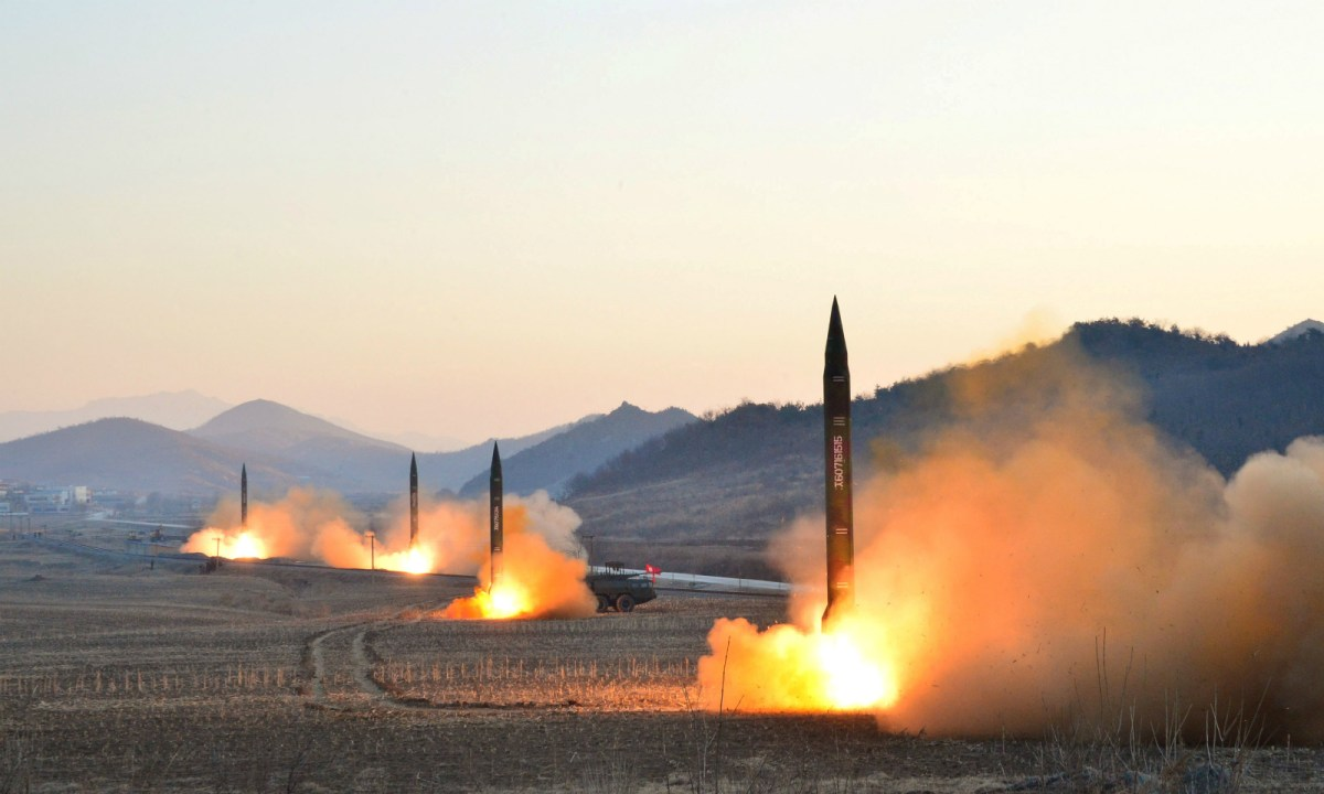 The launch of ballistic missiles released by the Korean Central News Agency (KCNA). Photo: Reuters
