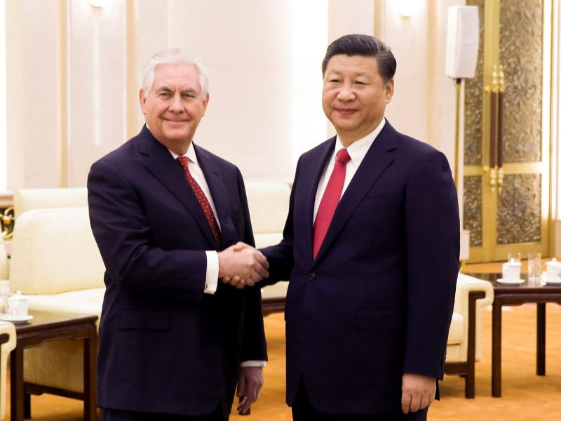 Xi Jinping shakes hands with Secretary of State Rex Tillerson. Photo: Reuters