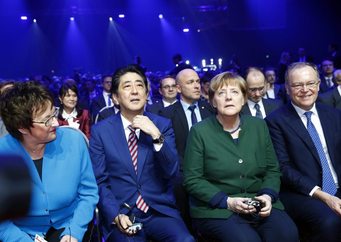 German Chancellor Angela Merkel and Japanese Prime Minister Shinzo Abe attend the opening ceremony of the CeBit computer fair, in Hanover, Germany. Photo: REUTERS / Morris Mac Matzen