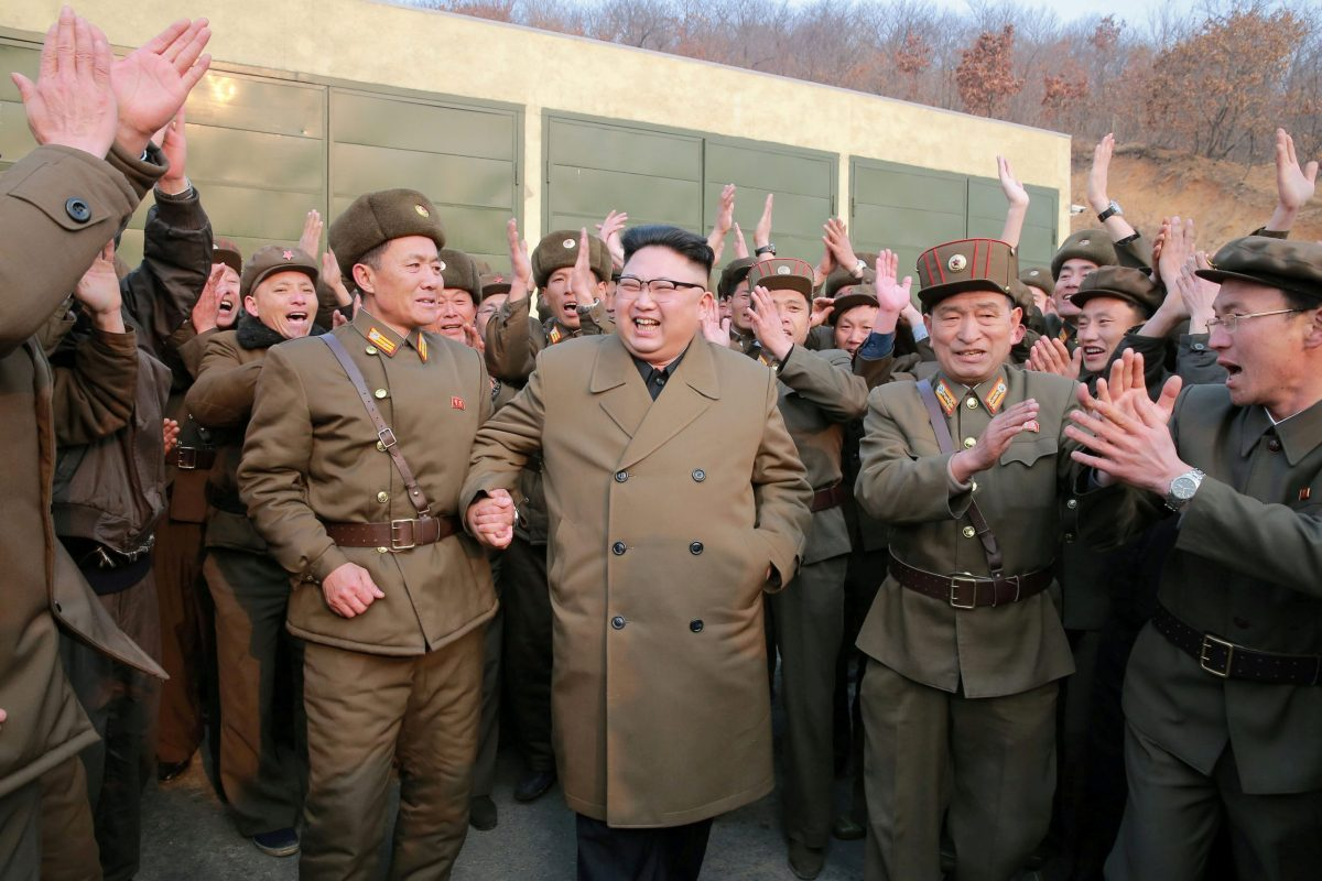 North Korean leader Kim Jong-un watched the ground jet test of a Korean-style high-thrust engine newly developed by the Academy of the National Defence Science in this undated image. Photo: KCNA via Reuters